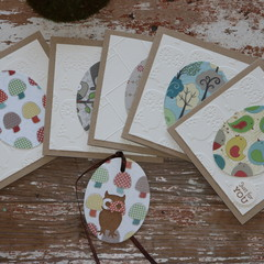 Christmas Cards 5 Woodland Cards Woodland Creatures Owls Mushrooms Birds