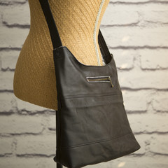the Hobo Bag - upcycled leather jacket - black