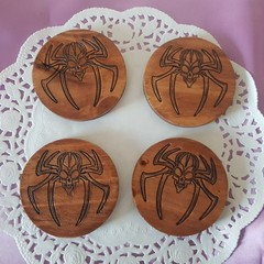 Set  of 4 or 6 coasters with spider Skeleton Head decorative design symbol