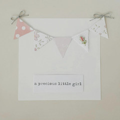 Hand-Embroidered Rosebud Baby Bunting Card