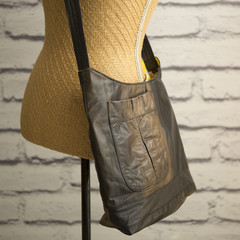the Hobo Bag - upcycled leather jacket - faded
