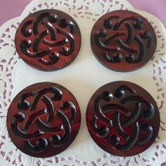 Set  of 4 or 6 coasters with Celtic decorative design symbol