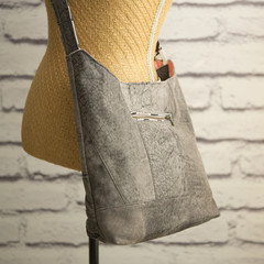 the Hobo Bag - upcycled leather jacket - soft mottled