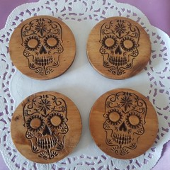 Set  of 4 or 6 coasters with Sugar skull decorative design symbol