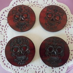 Set  of 4 or 6 coasters with Sugar skull design symbol