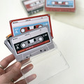 12 x LIFESIZE cassette tape stickers, *write your own labels*, in a clear case
