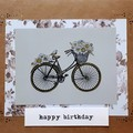 Handmade Metallic Bicycle Card - Happy Birthday
