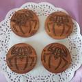 Set  of 4 or 6 coasters with spider Skeleton Head decorative design symbol