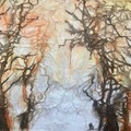 Abstract original painting, textured landscape design, Free Shipping Australia