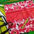 Crochet Hook Handy Wrap-Funky red/orange flower print