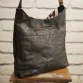 the Hobo Bag - upcycled leather jacket - black stitches