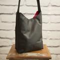 the Mini Hobo Bag - upcycled leather jacket - black