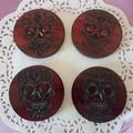 Set  of 4 or 6 coasters with Sugar skull design symbol