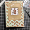Handmade Christmas card picture slider card gingerbread man A6