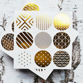 Geometric Print Gold Foil Transparent Seals | Round Gold Stickers Seals