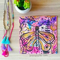 Original colourful pink gold abstract moth butterfly painting