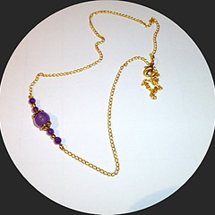 Lavender Amethyst and Jade on a fine gold chain