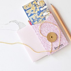 Pink String Tie Envelopes {3w cards} Pink Brown | Button Tie Envelopes