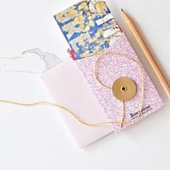 Pink String Tie Envelopes {3w cards} Pink Brown | Button Tie Envelopes
