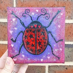 Original LadyBird Painting Purple Glitter