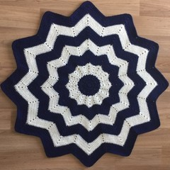 Navy and White 12 Point Star Blanket