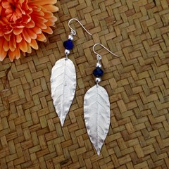Recycled Silver and Lapis Lazuli Leaf Earrings
