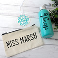 Glass Drink Bottle Zip Pouch and Best Teacher or Name hanging Bauble or Gift Tag