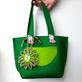 Felt Gift Bag Green Jute Paper Flower Handbag Candy Bag