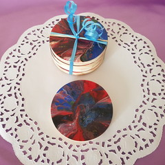 Set of 4 coasters, with poured art. Decorative artistic coasters