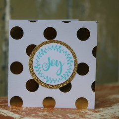 Christmas Card Joy Card White Card with Gold Spots Glitter Card Joy Gift Card
