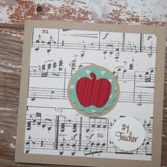 Number 1 Teacher Card Christmas Card Music Teacher Card Thank the Teacher