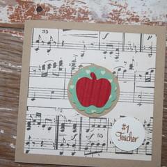 Number 1 Teacher Card Christmas Card Music Teacher Card Thank the Teacher