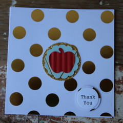Teacher Card Apple Card Apple for the Teacher Card Christmas Card