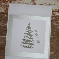 Christmas Tree Card Christmas Card Peace & Joy Card Silver Tree Christmas Card