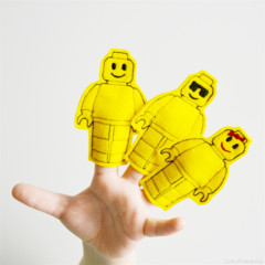 Yellow Lego Felt Finger Puppet Set