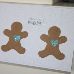 Christmas Card Gingerbread Man Card Celebrate the Wonder Card Twins Card
