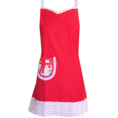 Cherry Red Lace Retro Style Handmade Womens Kitchen Apron