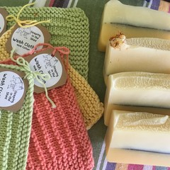 Lemon Myrtle Soap and Cotton hand knitted wash cloth.