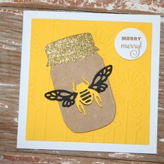 Christmas Card Merry Merry Card Bee Lovers Card Honey Pot Card