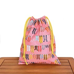 Pink Drawstring Gift Bag. Fun Socks.