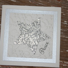 Christmas Card Peace Card Silver Star Card Embossed Christmas Card