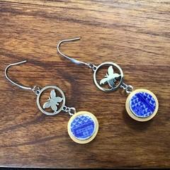 Blue Willow Butterfly earrings