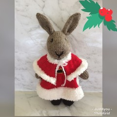Mrs Claus Bunny Hand knitted Easter rabbit / bunny Toy Softie