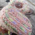 """crochet baby boots """"giggle feet"""" style. cotton and acrylic peach and pastels"""