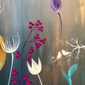 Modern floral abstract painting, original design, Free Shipping Australia