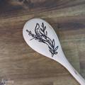 Wood Burnt Tropical Flourish Left Wooden Spoon
