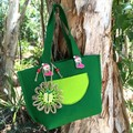 Felt Gift Bag Green Jute Paper Flower Handbag Candy Bag