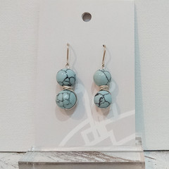 Sterling Silver Wire Wrapped Earrings - Blue Marble