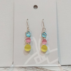 Sterling Silver Wire Wrapped Earrings - Summer Bliss Yellow