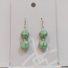 Sterling Silver Wire Wrapped Earrings - Mint Marble